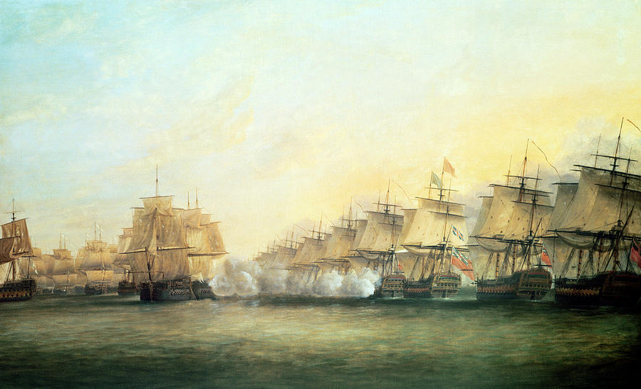 The Fourth Action Off Trincomalee Between The English And The French Painting  - The Fourth Action Off Trincomalee Between The English And The French Fine Art Print