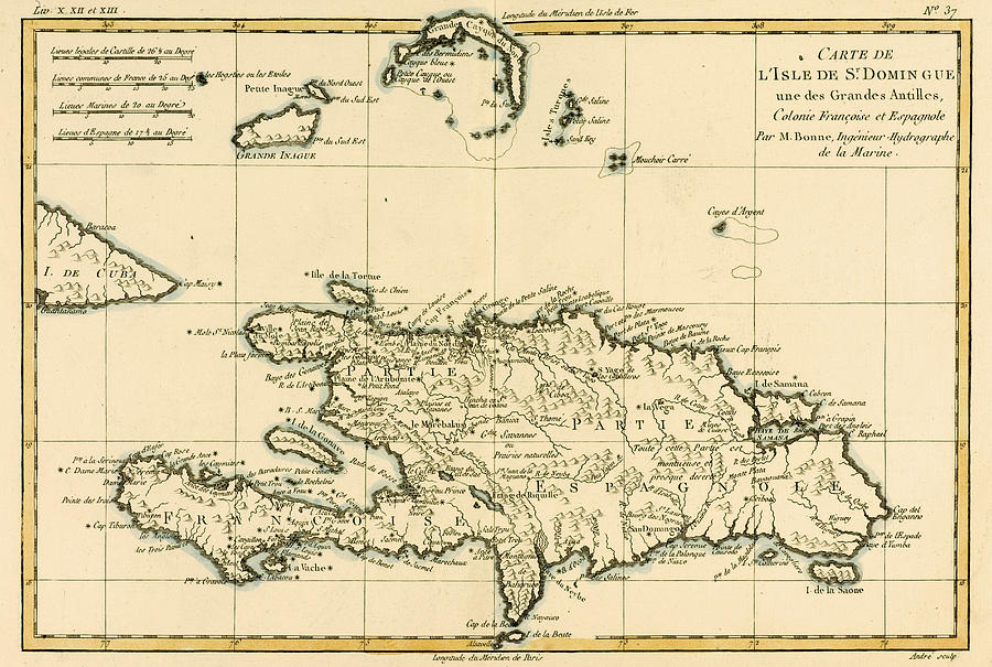 The French And Spanish Colony Of The Island Of St Dominic Of The Greater Antilles Drawing  - The French And Spanish Colony Of The Island Of St Dominic Of The Greater Antilles Fine Art Print