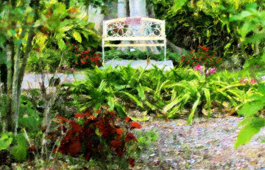 The Garden Bench Mixed Media  - The Garden Bench Fine Art Print