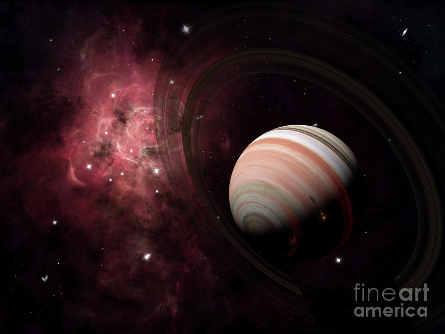 The Gas Giant Carter Orbited By Its Two Digital Art  - The Gas Giant Carter Orbited By Its Two Fine Art Print