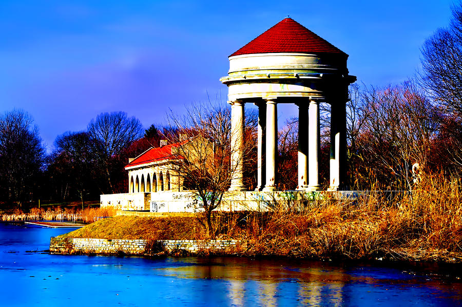 The Gazebo And Boathouse At Franklin Delano Roosevelt Park Photograph