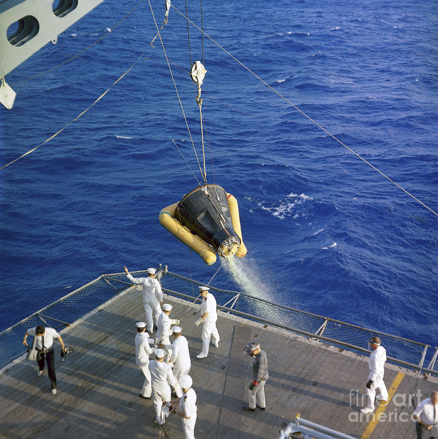 The Gemini-3 Spacecraft Is Hoisted Photograph  - The Gemini-3 Spacecraft Is Hoisted Fine Art Print