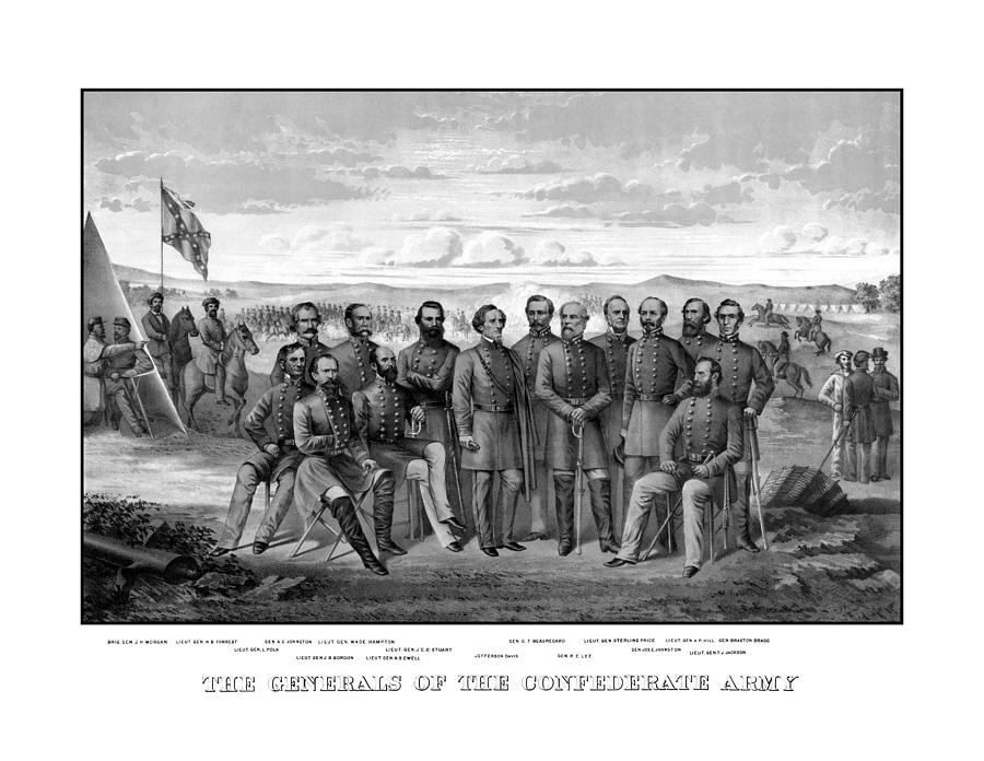 The Generals Of The Confederate Army Drawing  - The Generals Of The Confederate Army Fine Art Print