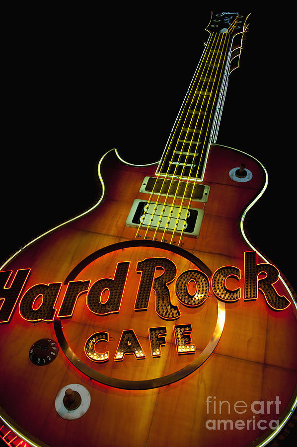 The Giant Guitar Of The The Hard Rock Cafe In Front Of The Hard  Photograph  - The Giant Guitar Of The The Hard Rock Cafe In Front Of The Hard  Fine Art Print