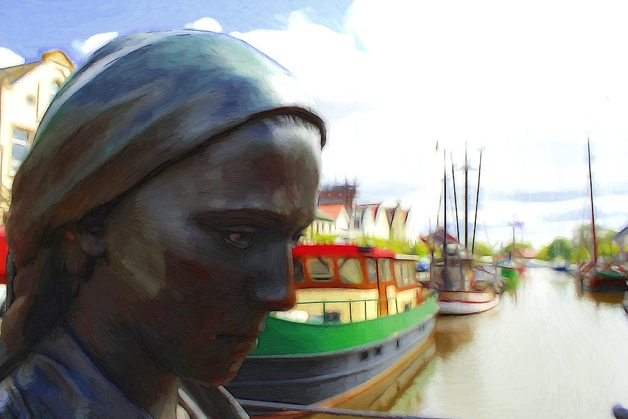 The Girl At The Harbor Painting  - The Girl At The Harbor Fine Art Print