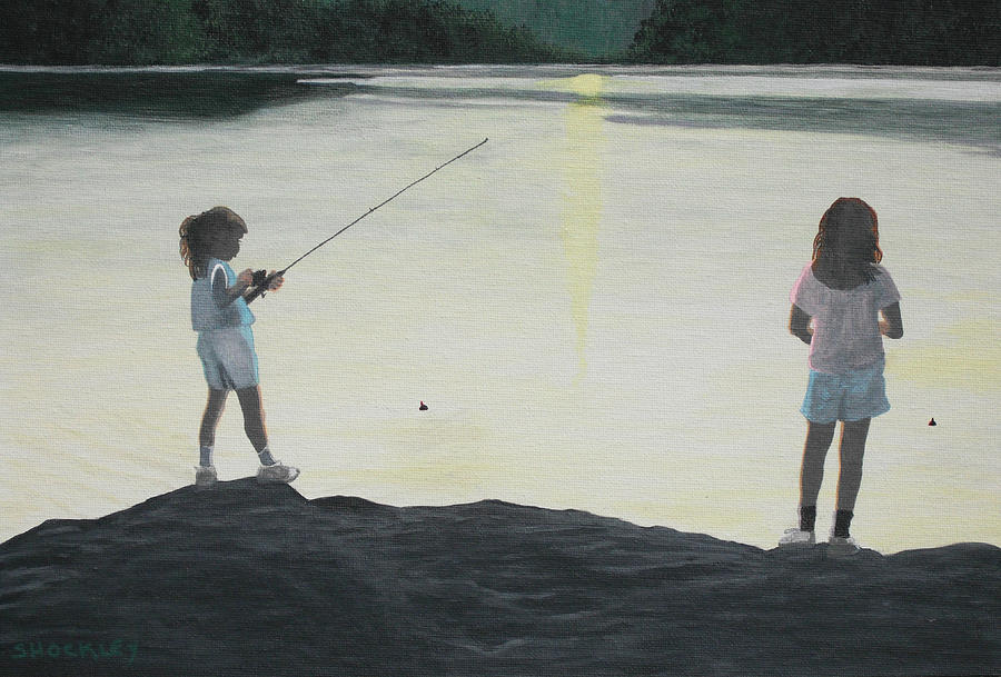 The Girls At The Lake Painting  - The Girls At The Lake Fine Art Print