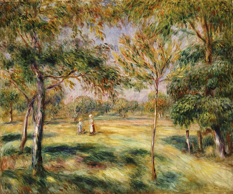 Impressionist; Impressionism; Countryside; Landscape; Tree Painting - The Glade by Pierre Auguste Renoir