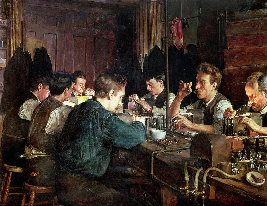 Industry; Blowing; Factory; Working; Blower; Glassblower Painting - The Glass Blowers by Charles Frederic Ulrich