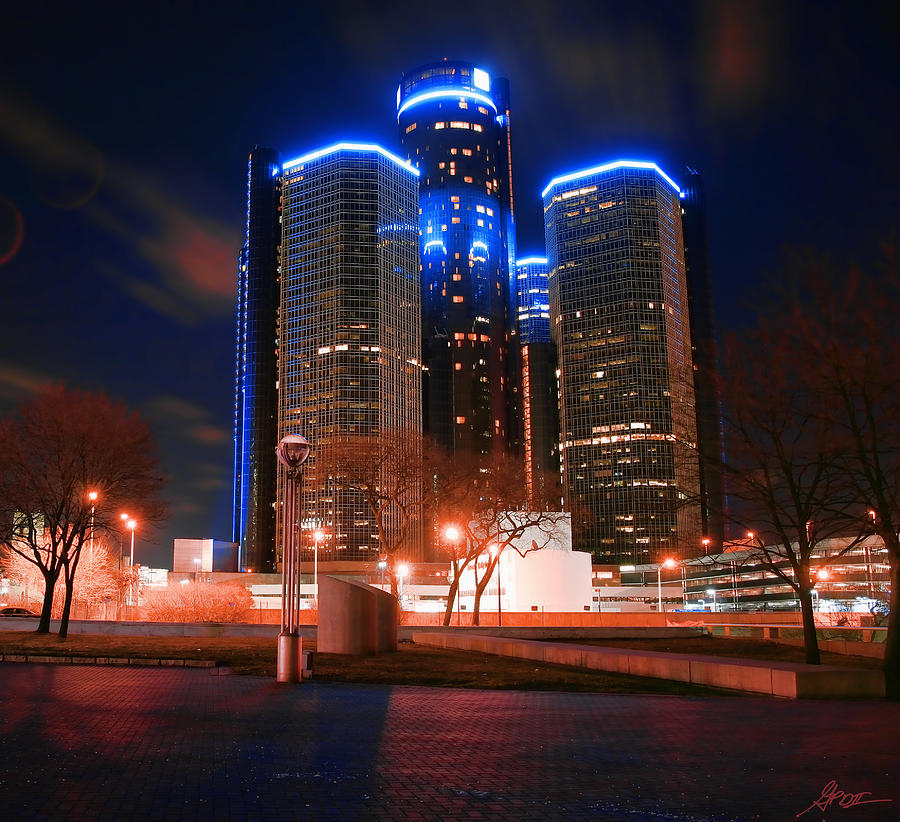 The Gm Renaissance Center At Night From Hart Plaza Detroit Michigan Photograph  - The Gm Renaissance Center At Night From Hart Plaza Detroit Michigan Fine Art Print