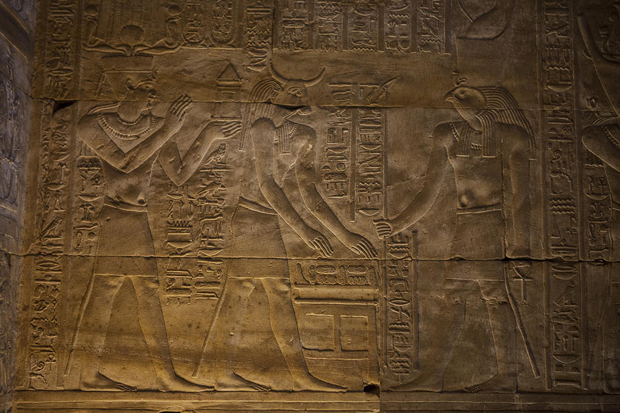 The Gods Horus, Hathor And The Pharaoh Photograph