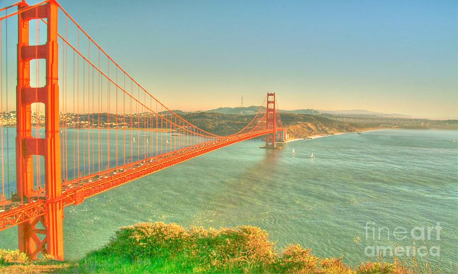 The Golden Gate Bridge  Fall Season Digital Art  - The Golden Gate Bridge  Fall Season Fine Art Print