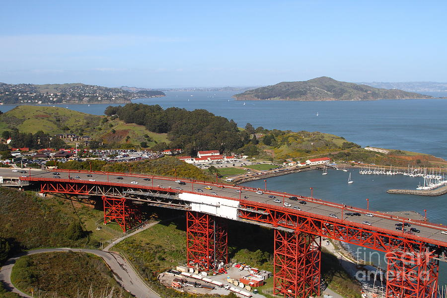 The Golden Gate Bridge North Side Overlooking Angel Island And Tiburon And Horseshoe Bay . 7d14494 Photograph
