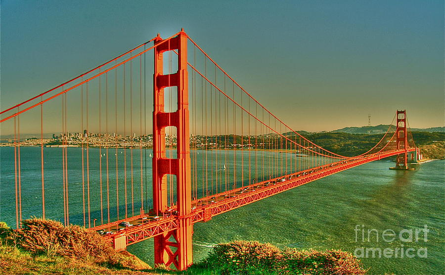 The Golden Gate Bridge Summer Digital Art  - The Golden Gate Bridge Summer Fine Art Print
