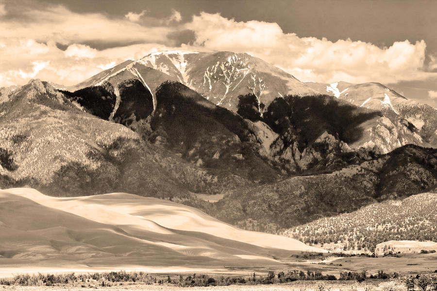 The Great Colorado Sand Dunes In Sepia Photograph  - The Great Colorado Sand Dunes In Sepia Fine Art Print