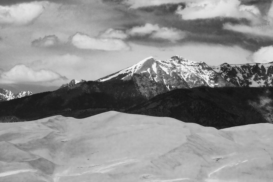 The Great Sand Dunes And Sangre De Cristo Mountains - Bw Photograph  - The Great Sand Dunes And Sangre De Cristo Mountains - Bw Fine Art Print