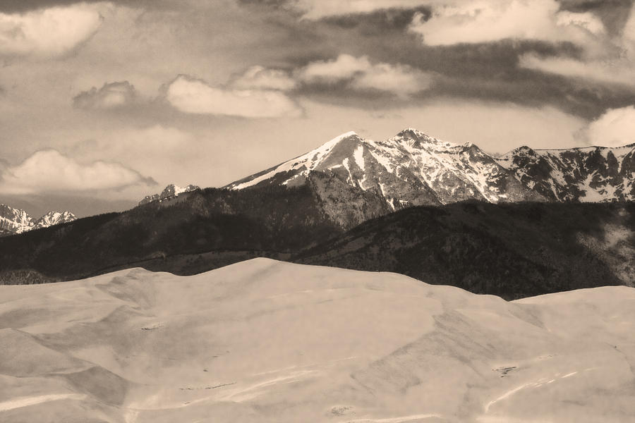 The Great Sand Dunes And Sangre De Cristo Mountains - Sepia Photograph  - The Great Sand Dunes And Sangre De Cristo Mountains - Sepia Fine Art Print