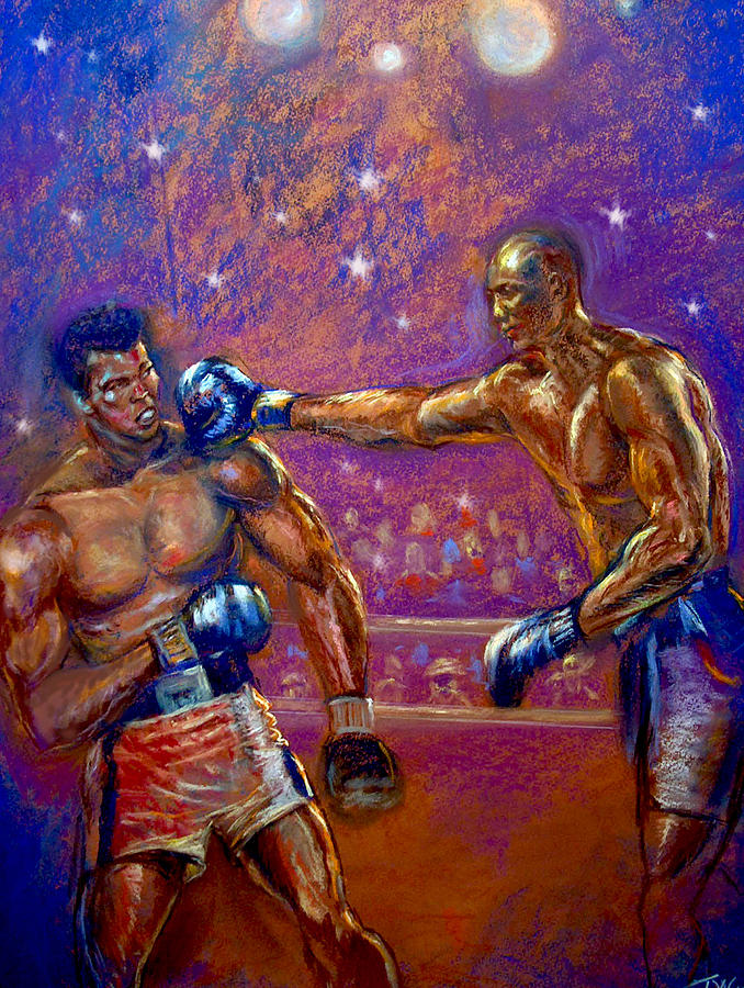 the Greatest  Muhammed Ali vs Jack Johnson Pastel  - the Greatest  Muhammed Ali vs Jack Johnson Fine Art Print