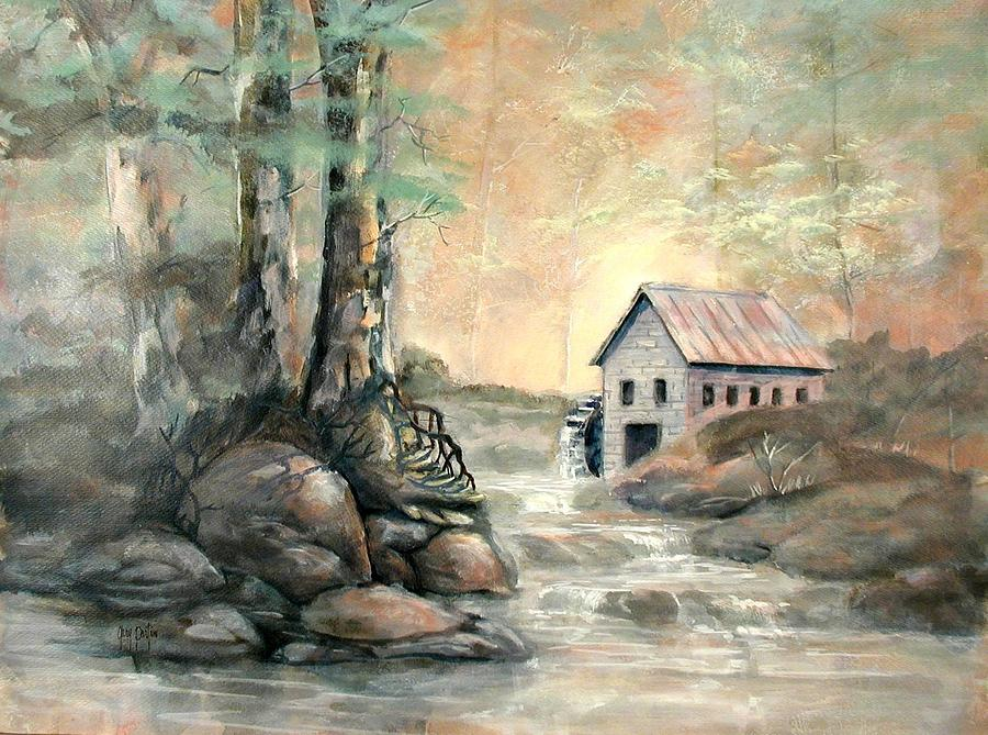 Grist Mill Painting - The Grist Mill by Gary Partin