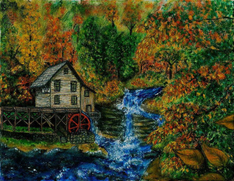 Mill Painting - The Grist Mill In Autumn by Tanna Lee M Wells