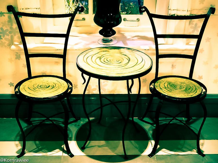 Chairs Photograph - The Guest by Kornrawiee Miu Miu