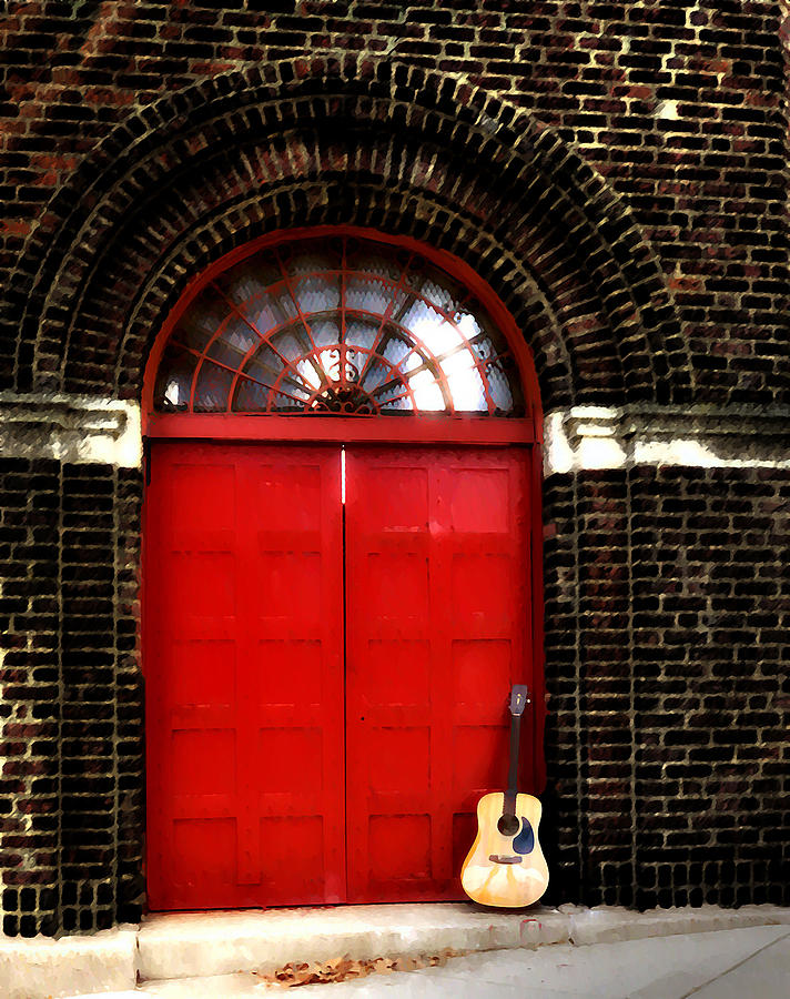 The Guitar And The Red Door Photograph  - The Guitar And The Red Door Fine Art Print