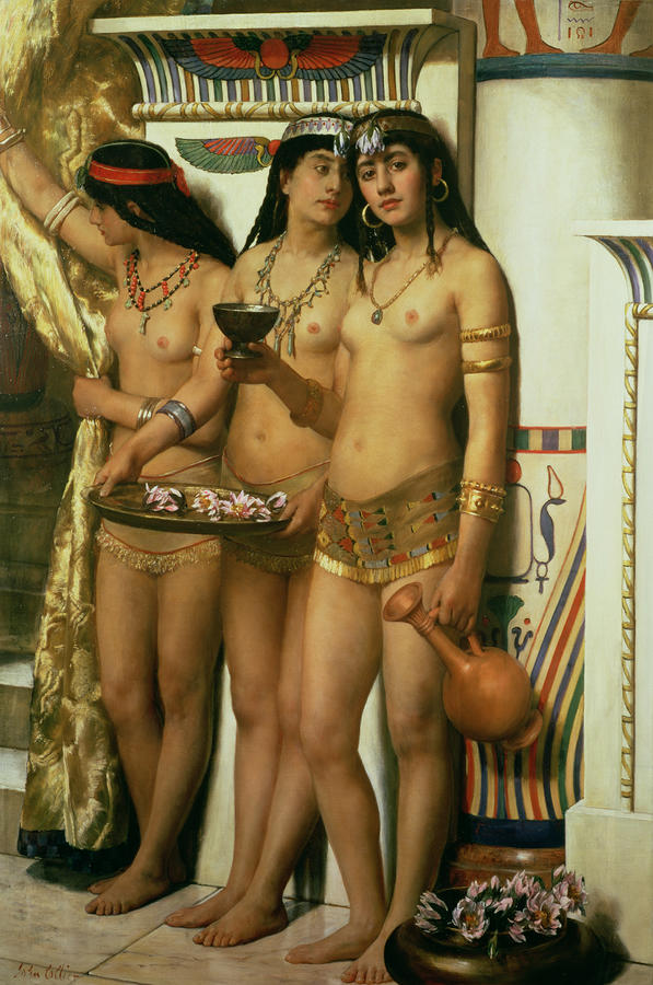 The Handmaidens Of Pharaoh Painting  - The Handmaidens Of Pharaoh Fine Art Print