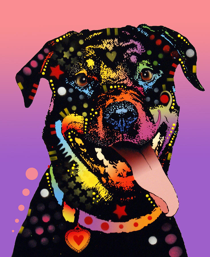 The Happy Rottie Painting  - The Happy Rottie Fine Art Print