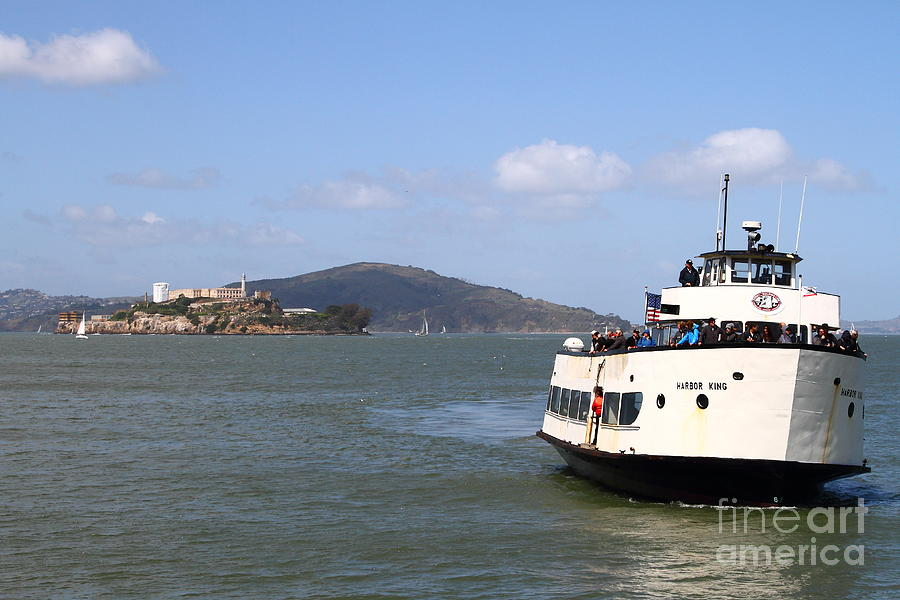 The Harbor King Ferry Boat On The San Francisco Bay With Alcatraz Island In The Distance . 7d14355 Photograph  - The Harbor King Ferry Boat On The San Francisco Bay With Alcatraz Island In The Distance . 7d14355 Fine Art Print