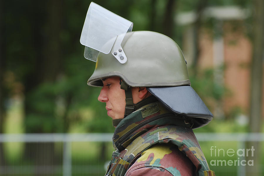 The Helmet And Visor Used Photograph  - The Helmet And Visor Used Fine Art Print
