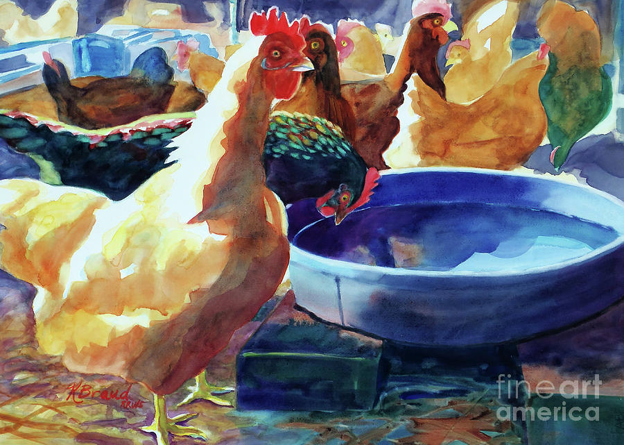 The Henhouse Watering Hole Painting  - The Henhouse Watering Hole Fine Art Print