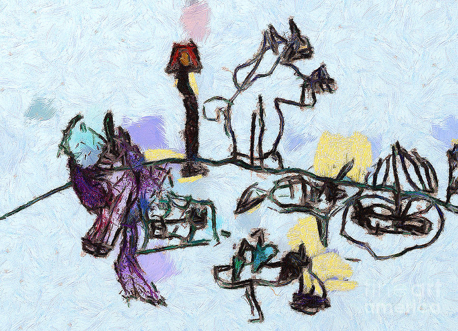 The Horses Picnic Painting  - The Horses Picnic Fine Art Print