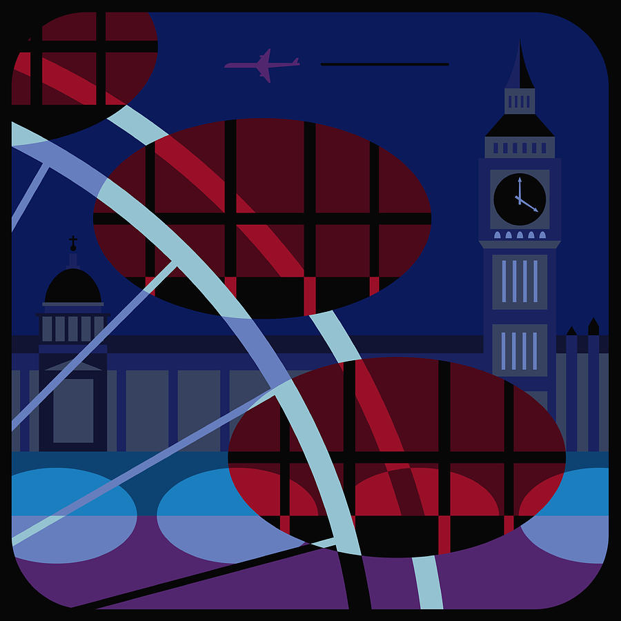 The Houses Of Parliament, The Millennium Wheel And Big Ben, London, United Kingdom Digital Art