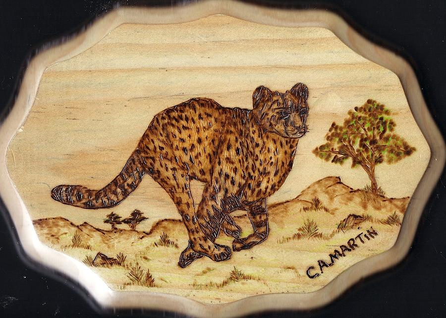 The Hunt Of The Cheetah Pyrography