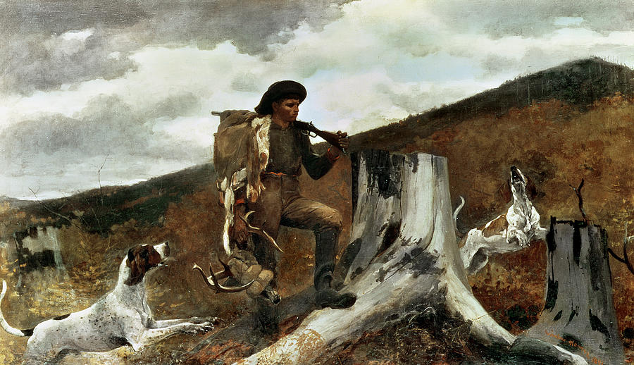 The Hunter And His Dogs Painting  - The Hunter And His Dogs Fine Art Print
