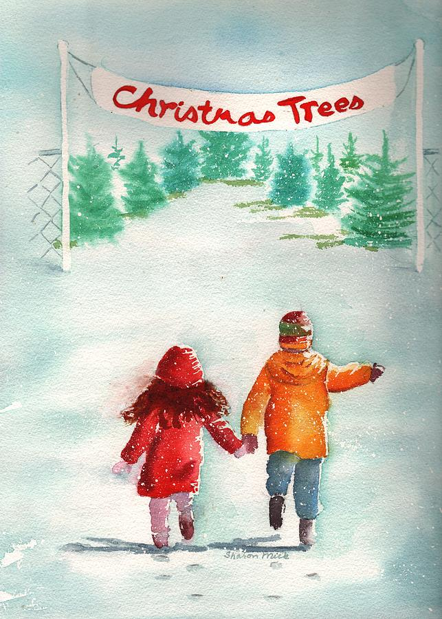 The Joy Of Selecting A Christmas Tree Painting  - The Joy Of Selecting A Christmas Tree Fine Art Print