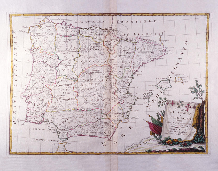 Horizontal Digital Art - The Kingdom Of Spain And Portugal Divided by Fototeca Storica Nazionale