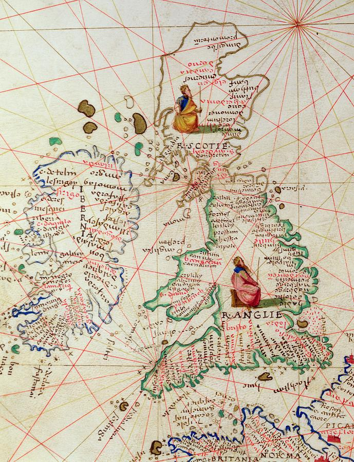 Maps Drawing - The Kingdoms Of England And Scotland by Battista Agnese