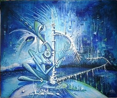 The Lady And The Harp Painting
