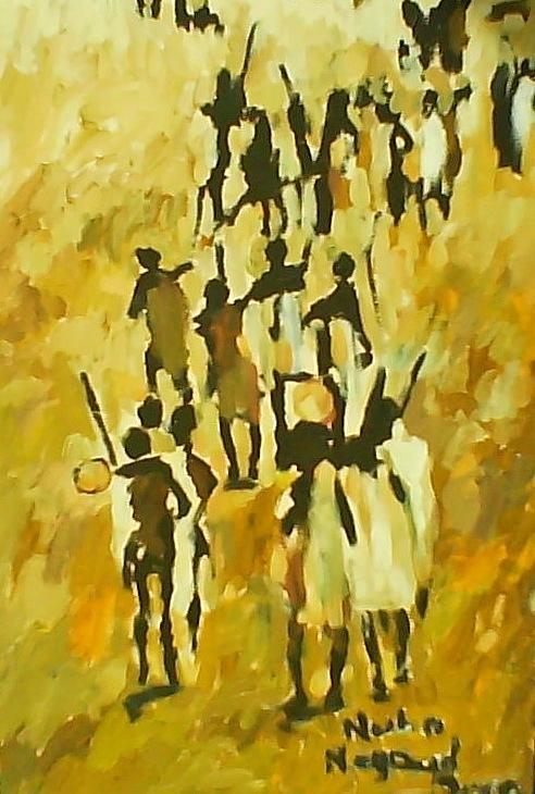 Landscape  Painting - The Last Of Nuba  by Negoud Dahab