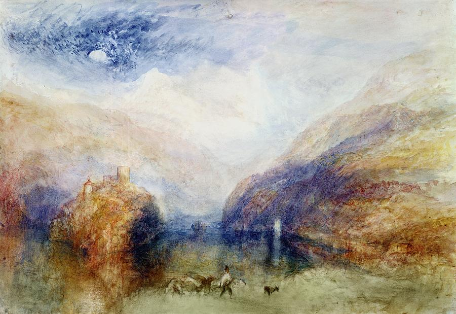 Alps; Alpine; Romantic; Near Schwyz; Mountainous; Castle; Swiss Landscape; Romanticist; Romanticism Painting - The Lauerzersee With The Mythens by Joseph Mallord William Turner