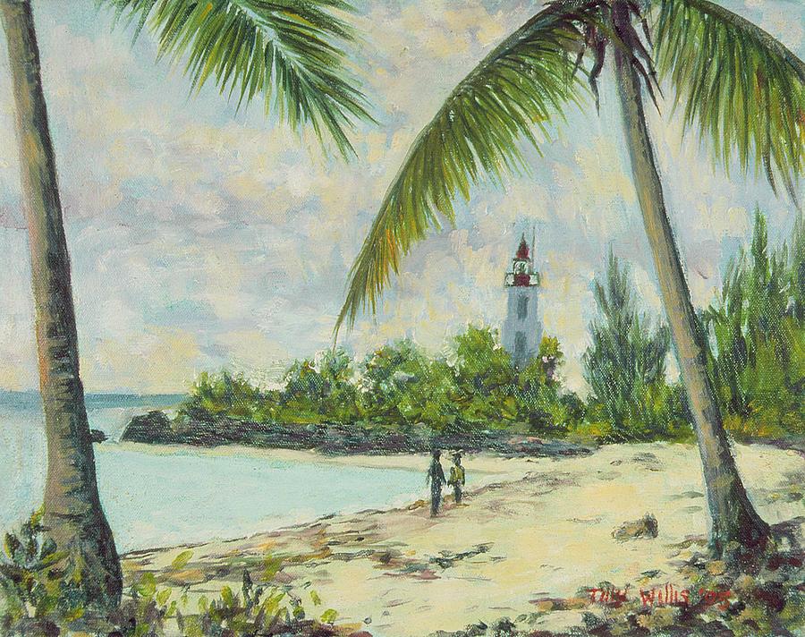 Palm Trees; Palms; Tree; Coastal; Beach; Shore; Coast; Indian Ocean; African; Tropical; Lighthouse; Green; Trees; Bush; Bushes; Africa; Zanzibar; Figure; Figures; Standing; Sand; Water; Sea; Ocean; Landscape Painting - The Lighthouse - Zanzibar by Tilly Willis