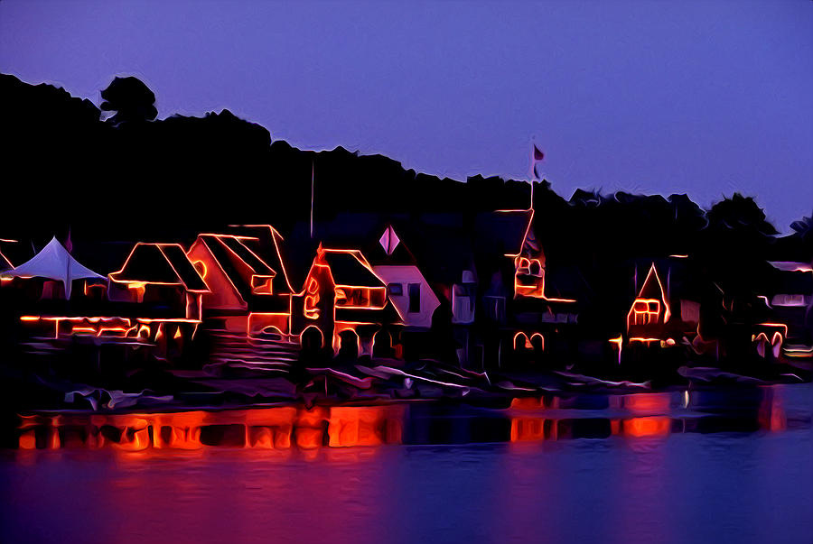The Lights Of Boathouse Row Photograph  - The Lights Of Boathouse Row Fine Art Print