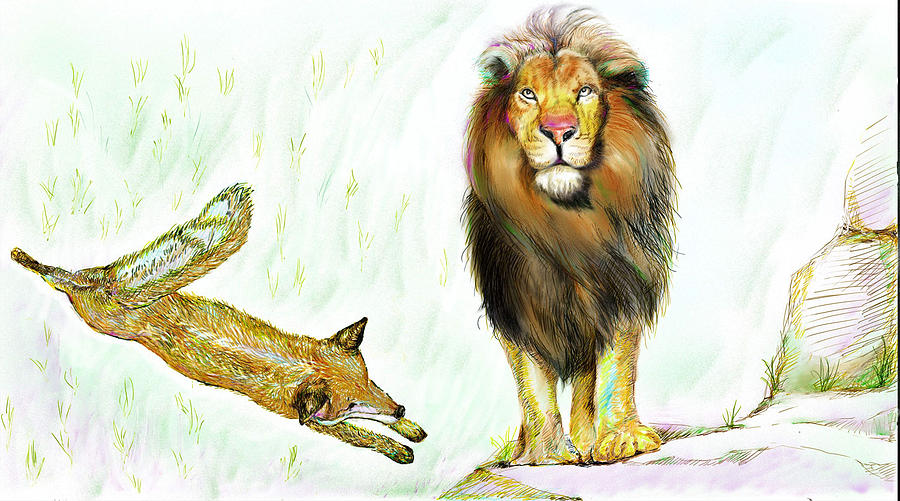The Lion And The Fox 2 - The True Friendship Painting