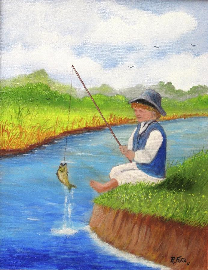 The gallery for fishing paintings for Little boy fishing
