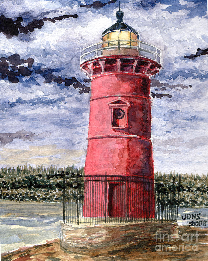 The Little Red Lighthouse - Jeffrey Painting  - The Little Red Lighthouse - Jeffrey Fine Art Print