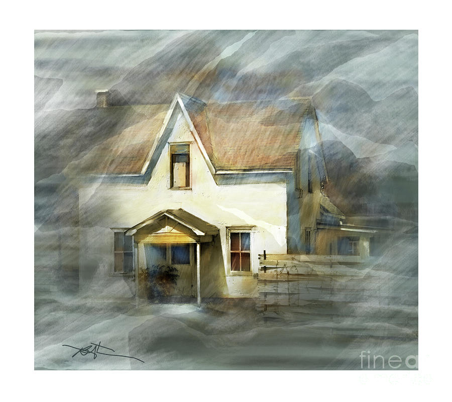 The Little White House On Hwy 6 Painting  - The Little White House On Hwy 6 Fine Art Print