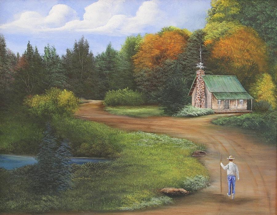The Log Cabin And Farmer Painting By Gloria Weiss