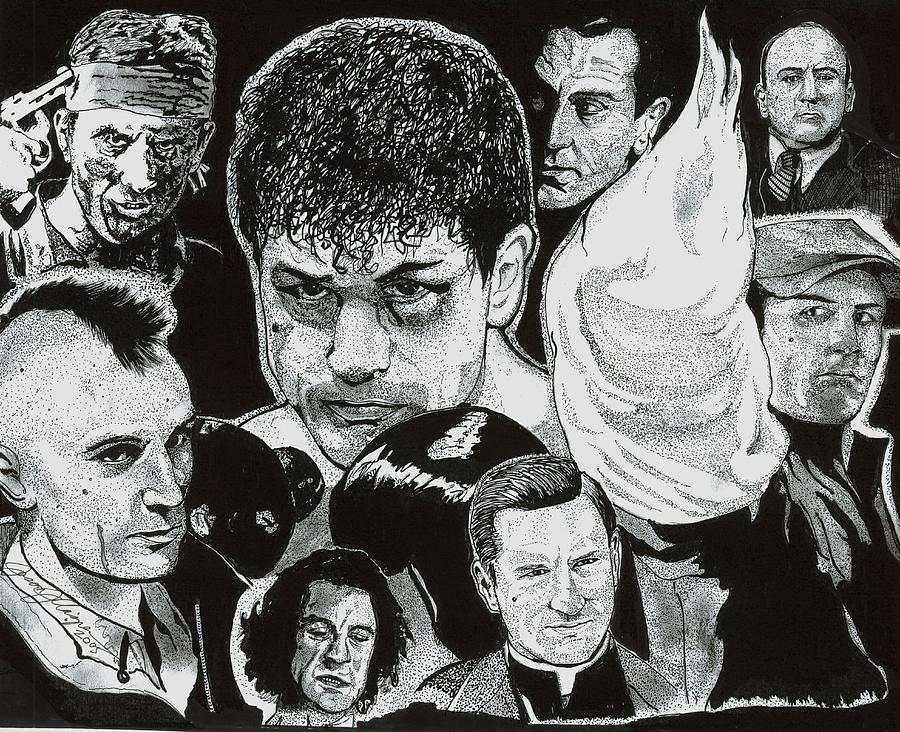 The Many Faces Of Robert Deniro Drawing  - The Many Faces Of Robert Deniro Fine Art Print