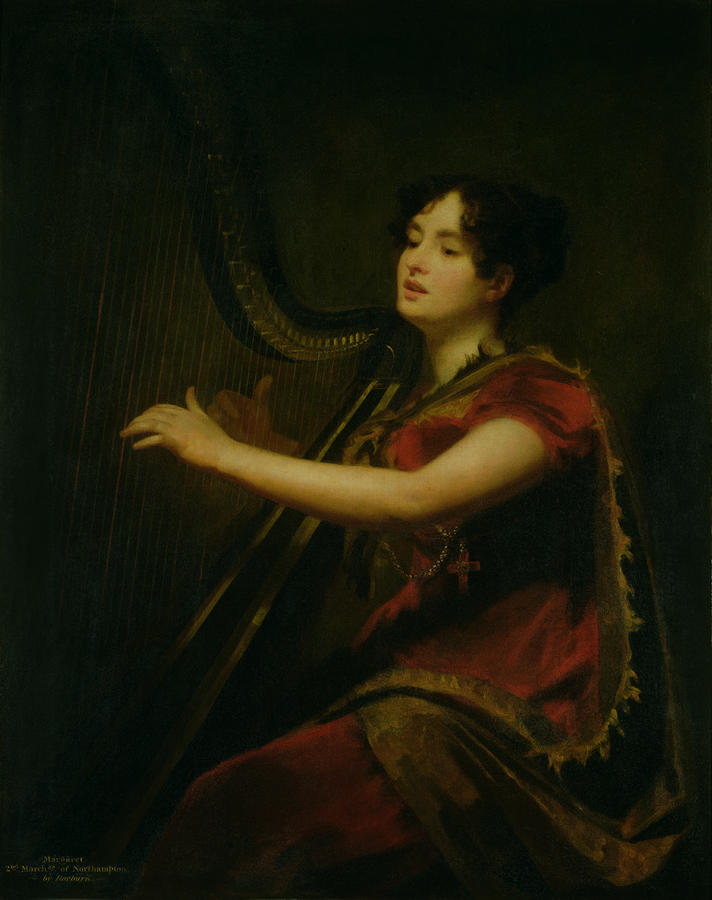 The Marchioness Of Northampton Playing A Harp Painting  - The Marchioness Of Northampton Playing A Harp Fine Art Print