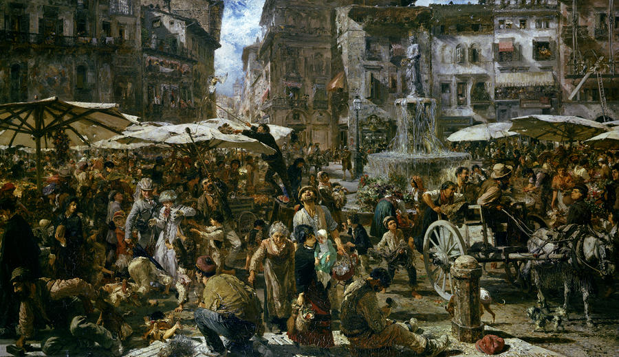 The Market Of Verona Painting